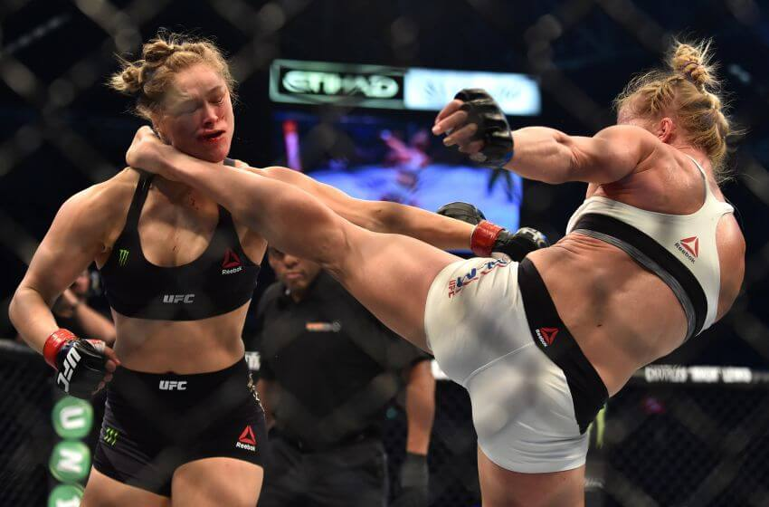 Ronda gets a neck full of foot!