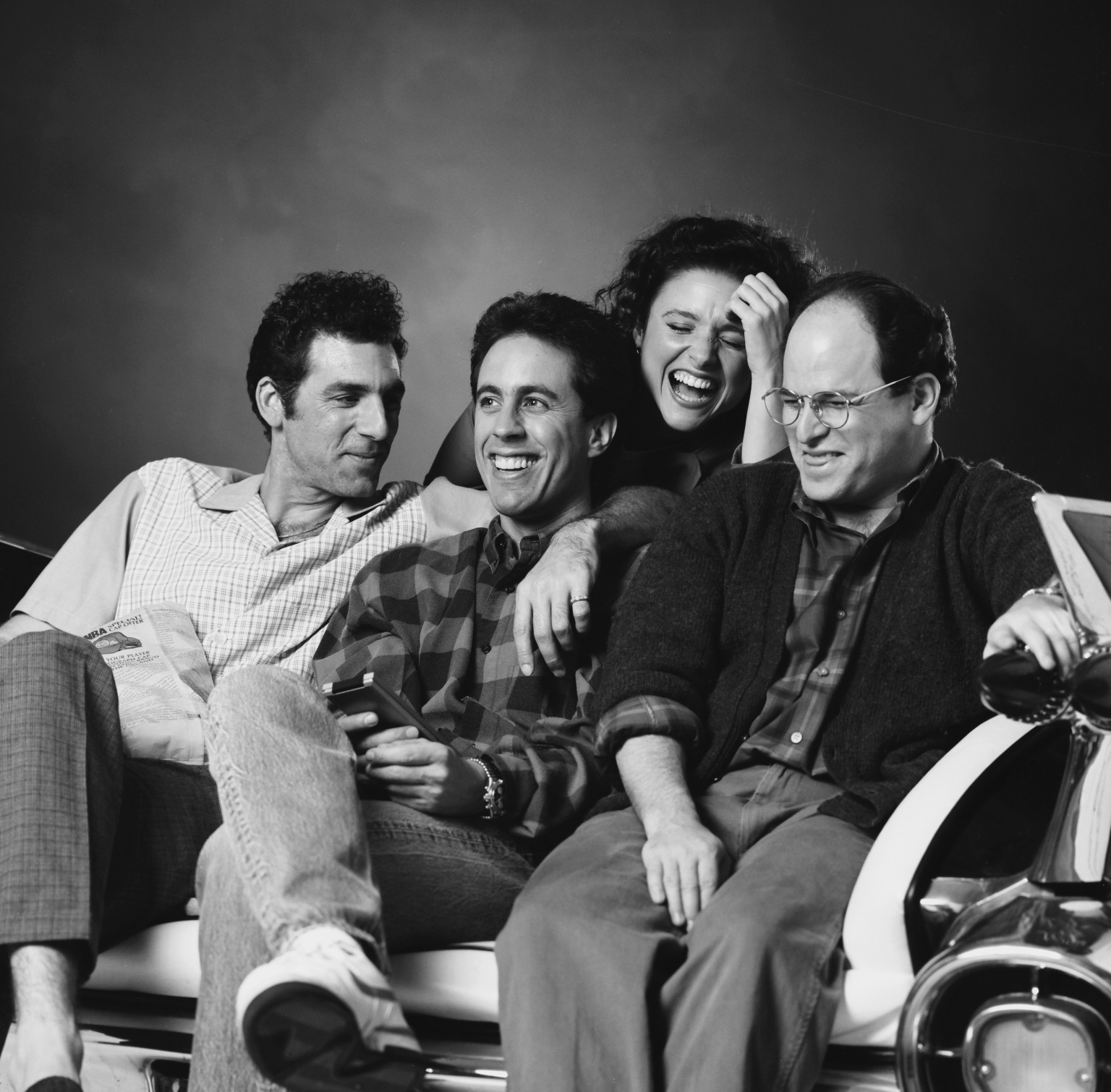 SEINFELD -- Season 2 -- Pictured l-r Michael Richards as Cosmo Kramer Jerry Seinfeld as Jerry Seinfeld Julia Louis-Dreyfus as Elaine Benes Jason Alexander as George Costanza Photo by Chris HastonNBCNBCU Photo Bank via Getty Images