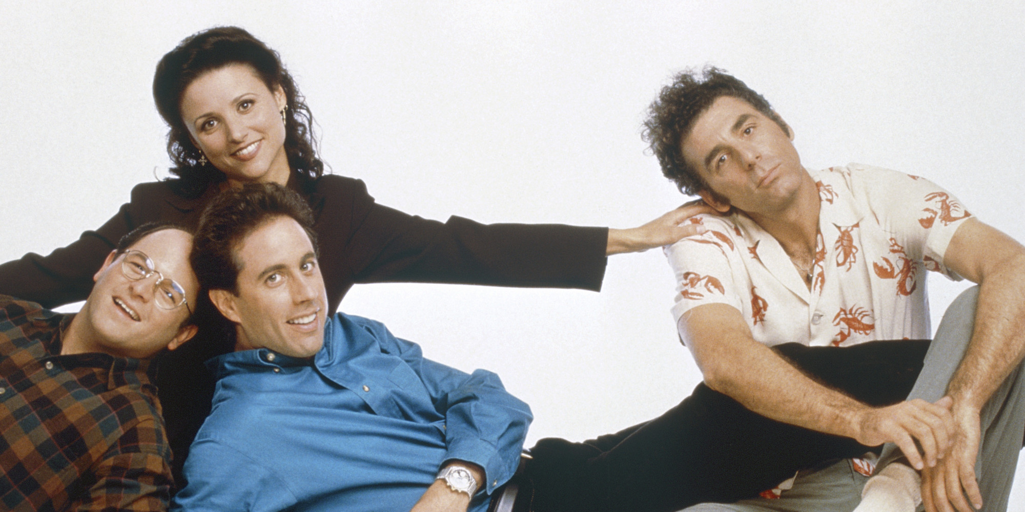 SEINFELD -- Season 6 -- Pictured front l-r Jason Alexander as George Costanza Jerry Seinfeld as Jerry Seinfeld back l-r Julia Louis-Dreyfus as Elaine Benes Michael Richards as Cosmo Kramer Photo by George LangeNBCNBCU Photo Bank via Getty Images