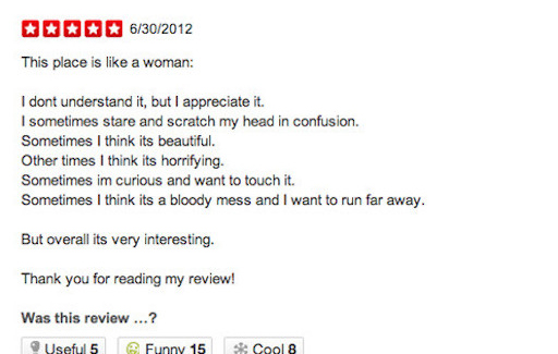 When You're Not Quiet Sure If Your Reviewing A Restaurant Or An Entire Gender Of Humans…