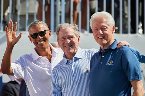 obama bush and clinton together
