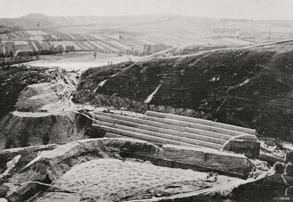 A spillway being built
