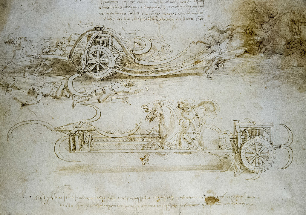 Detail of a drawing with war equipment on display in the 'Leonardo da Vinci, L'Uomo Universale'