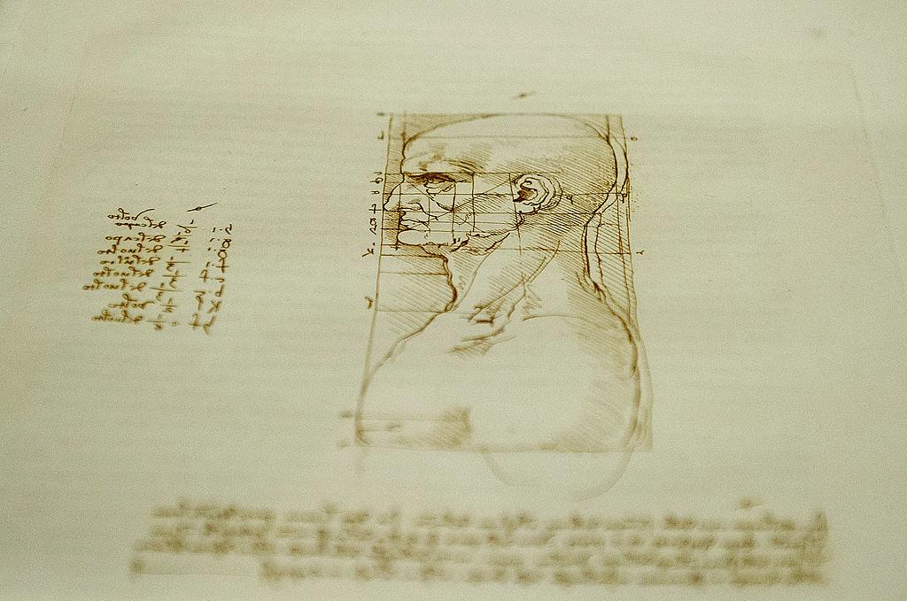 Detail of a drawing on display in the 'Leonardo da Vinci, L'Uomo Universale' (Leonardo da Vinci, Universal Man') exhibition