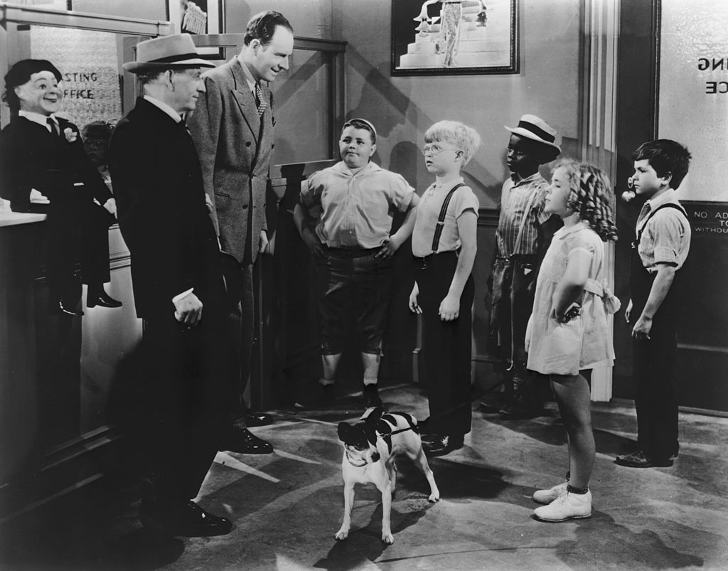 froggy, buckwheat, and others in a still from the little rascals