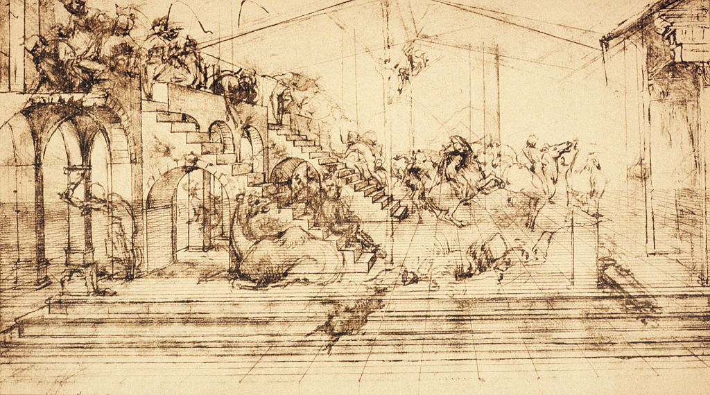 This drawing is a perspective study for Adoration of the Magi, an unfinished work by Leonardo da Vinci.