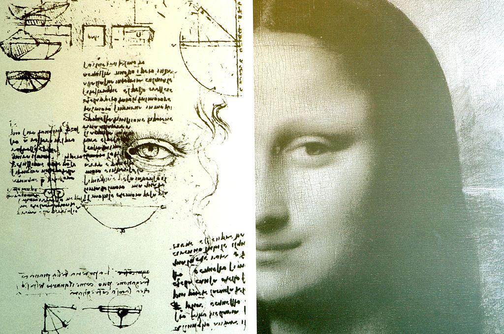 A study for the Mona Lisa's eyes of Leonardo is seen at the Leonardo Da Vinci exibition vernissage at the Uffizi Gallery on March 27, 2006