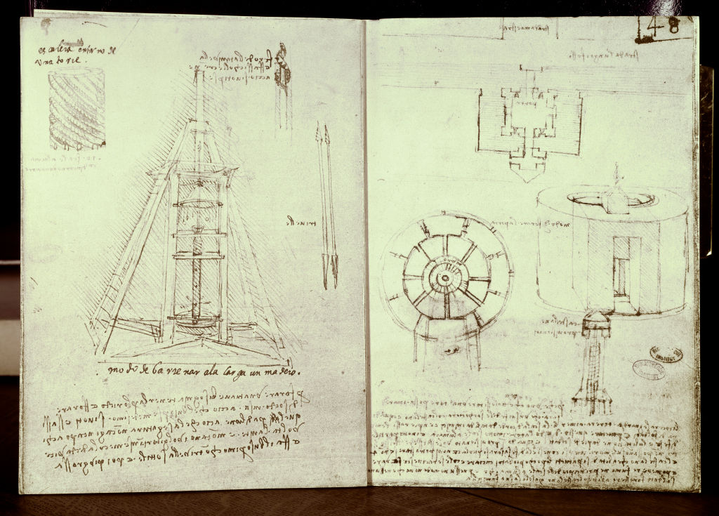 Leonardo Da Vinci (1452-1519), Manuscript. On the left: Gimlet, Spiral staircase, Drilling a Beam. On the right, Plan of a fortified city, Plan and elevation of a circular fortified tower at sea.
