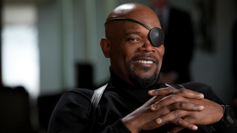 Samuel L. Jackson chuckles in the first Avengers movie.