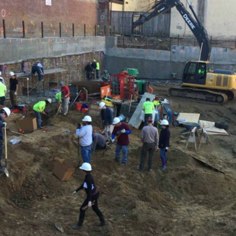 construction zone that shows hidden cemetery underneath Philadelphia apartment