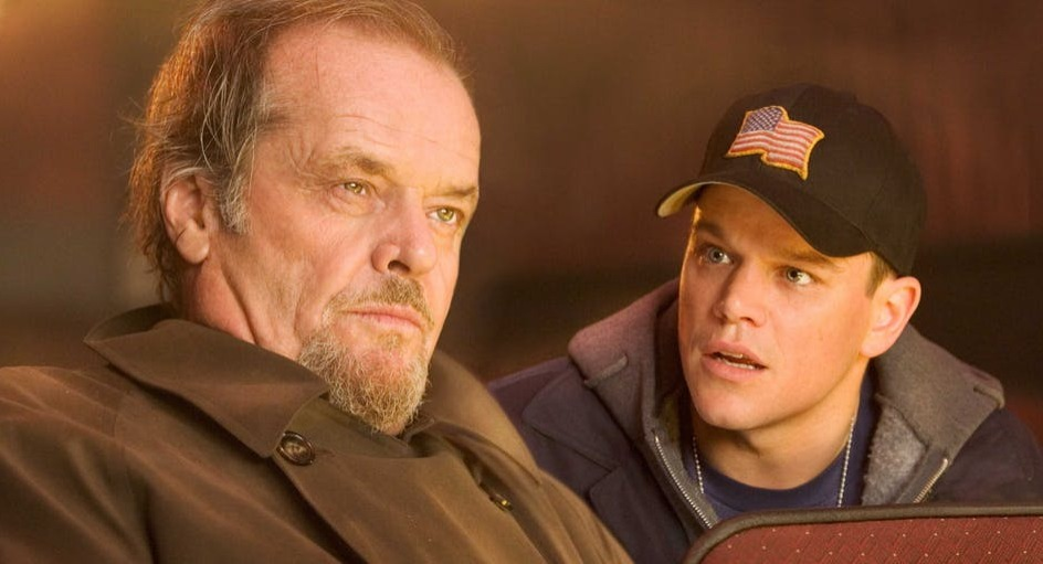 Jack Nicholson and Brad Pitt screenshot from The Departed