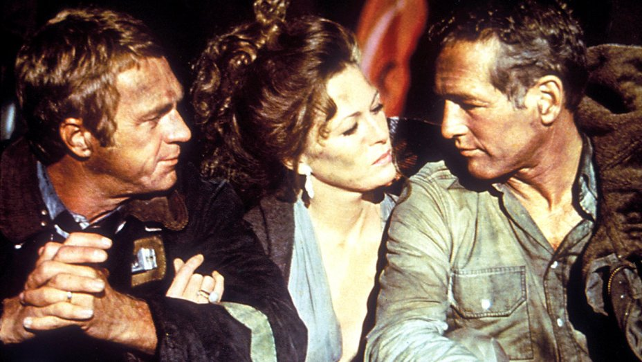 Steve McQueen, Faye Dunaway, and Paul Newman in The Towering Inferno.