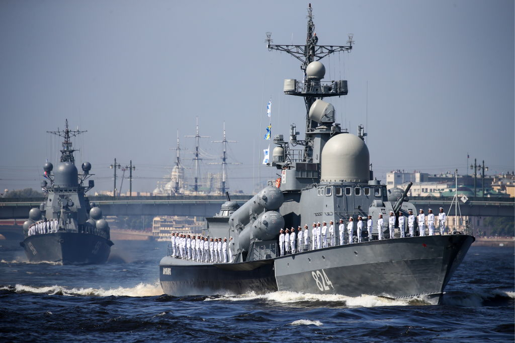The Morshansk missile boat takes part in the main naval parade marking Russian Navy Day
