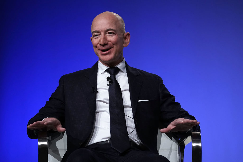 Jeff Bezos founder of space venture Blue Origin and owner of The Washington Post, participates in an event hosted by the Air Force Association