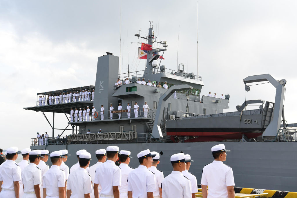 Philippines navy ship Dagupan City arriving at a military port in Zhanjiang, in China's southern Guangdong province