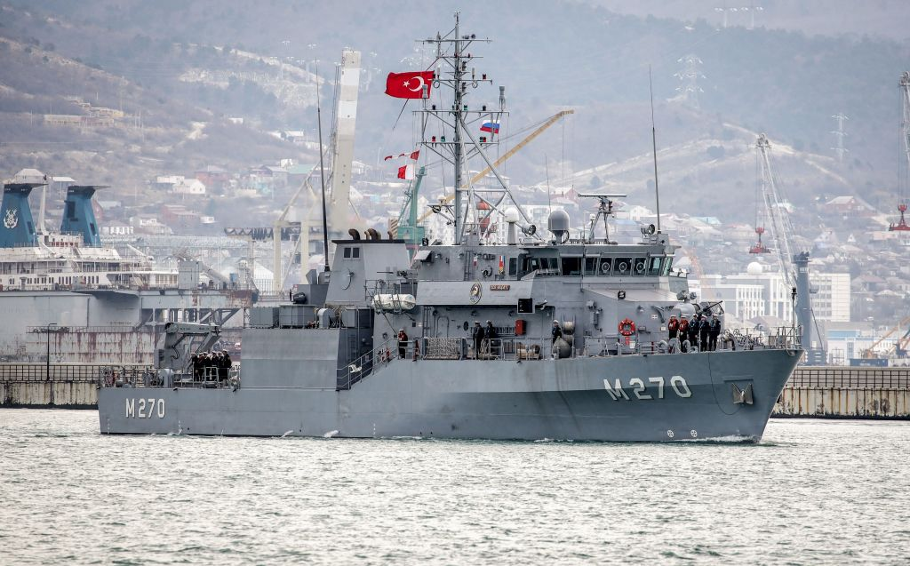 Naval Forces of Turkey enters the harbour of the Russian port of Novorossiysk