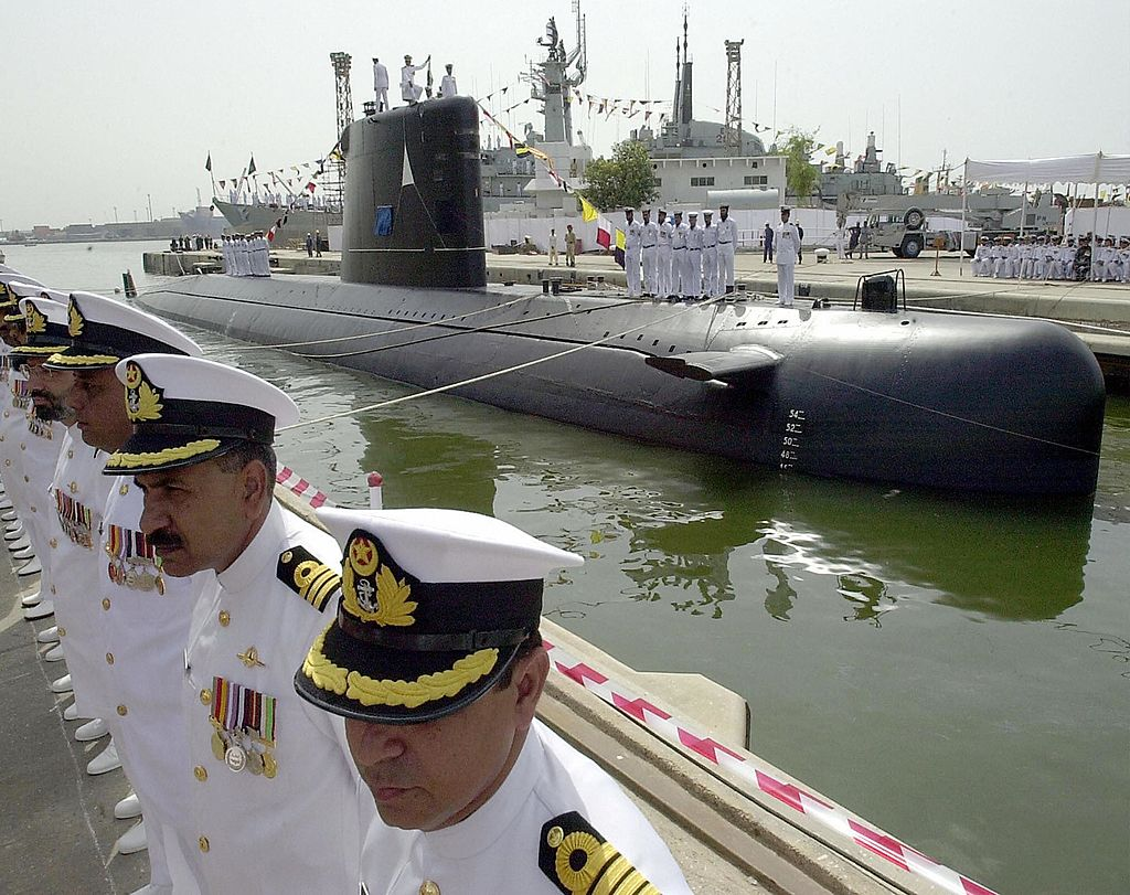 Pakistan  navy indigenously built submarine, with French assistance, launches August 24, 2002 in Karachi, Pakistan