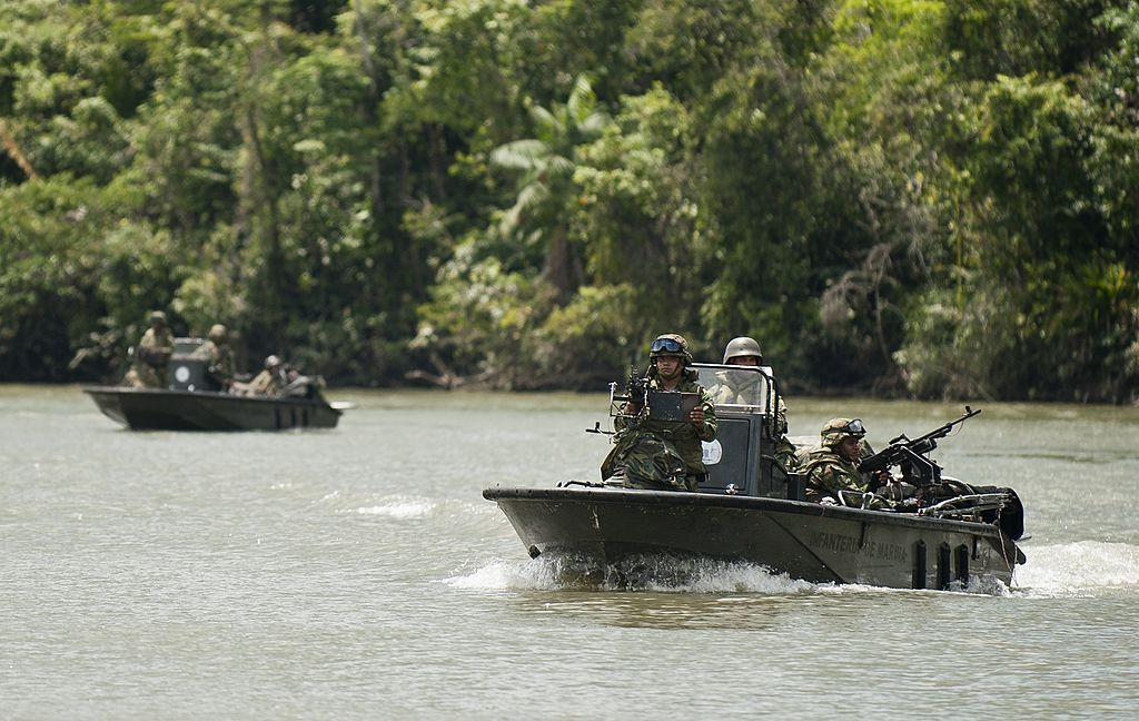 a patrol boat of fluvial combat-- during a drill of combat on the Guapi river, in a rural area of Guapi, deparment of Cauca, Colombia