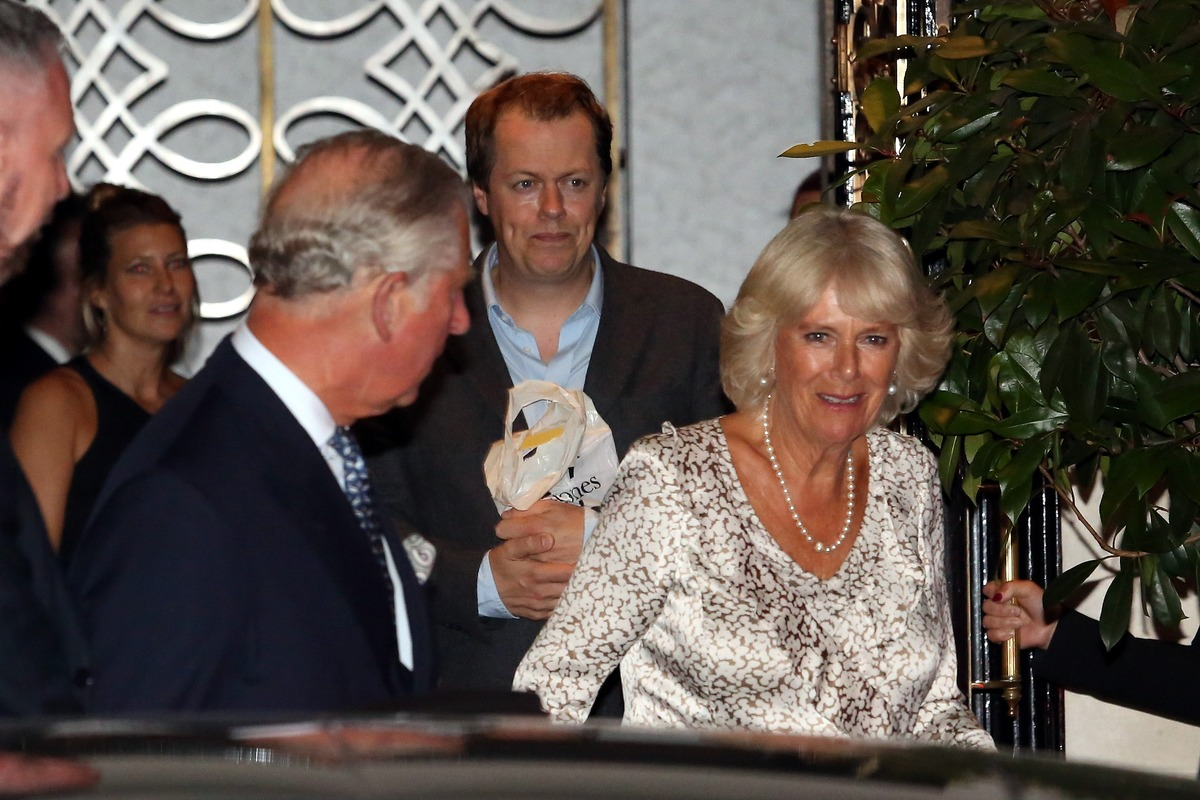 Prince Charles, Camilla Duchess of Cornwall and Tom Parker Bowles leaving Scott's restaurant on September 7, 2016 in London, England.