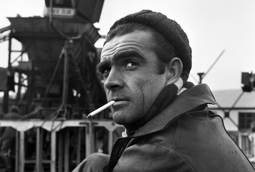 Connery smoking a cigarette