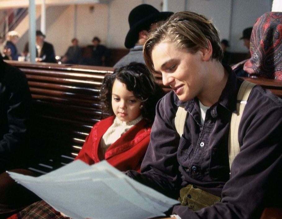 Leonardo DiCaprio and Alexandrea Owens rehearsing their lines
