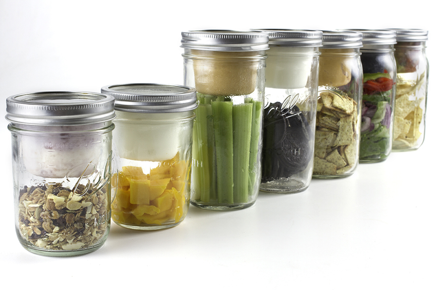 Mason jars with attached dip lids