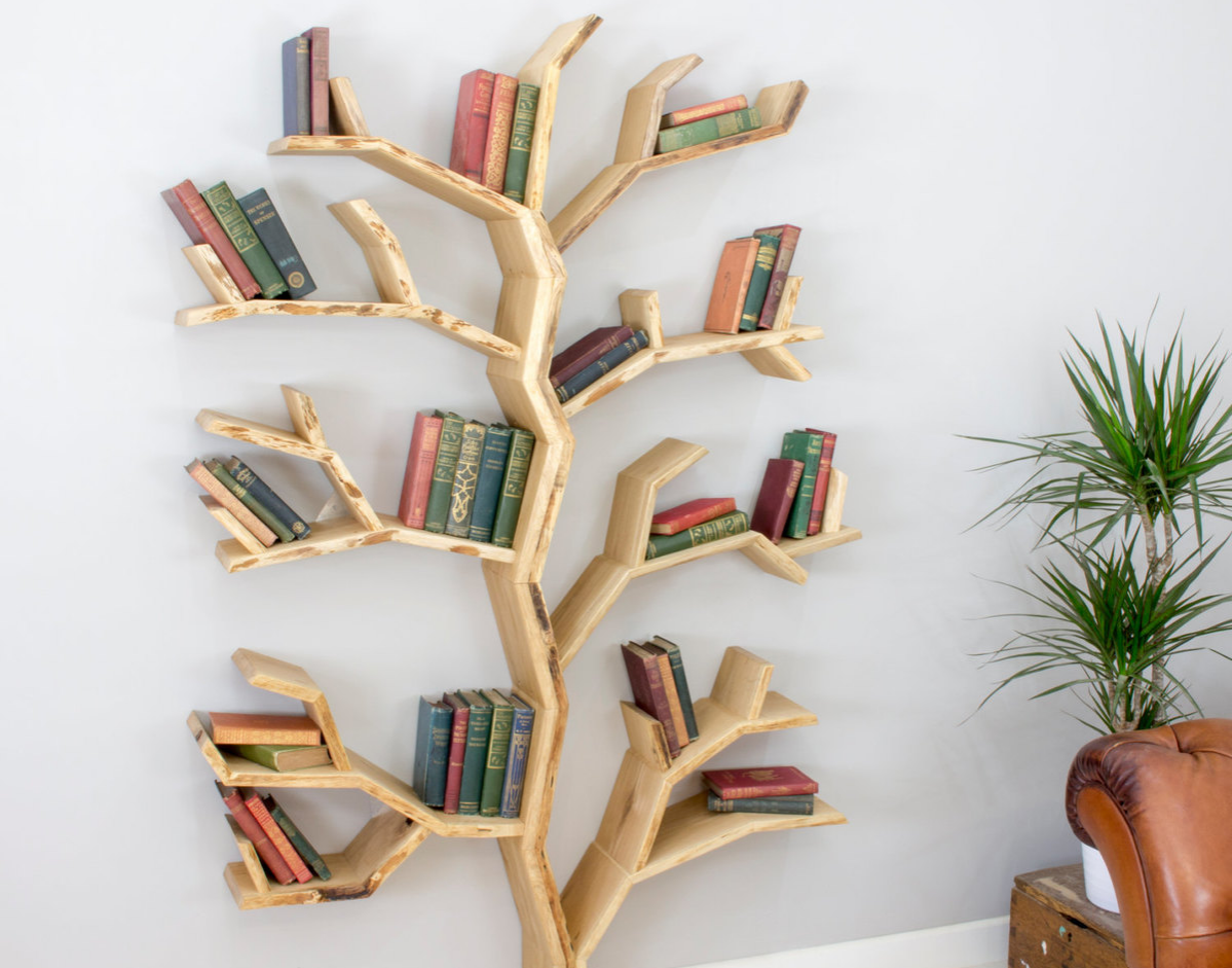 Tree bookshelf made out of elm