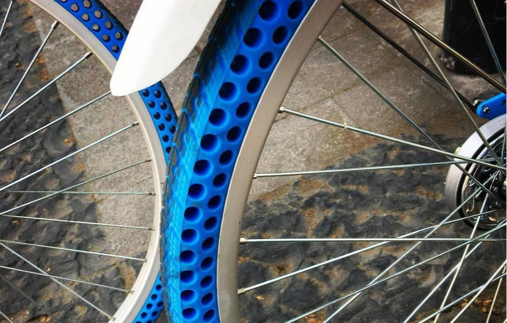 blue airless tires on bikes