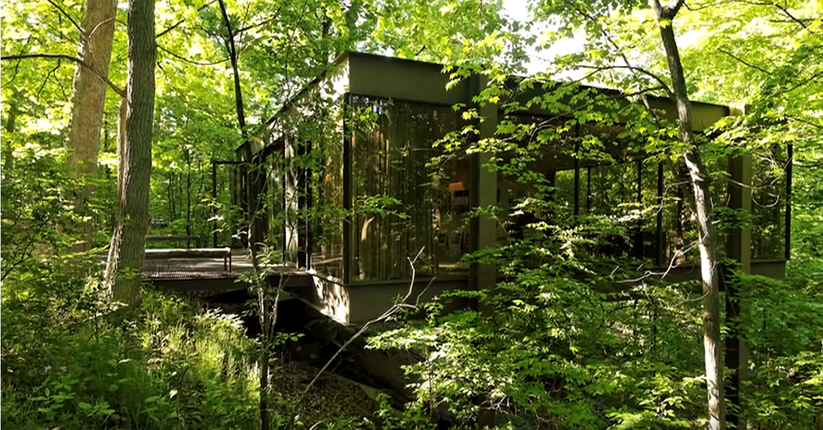 exterior shot of andrew's house from ferris bueller's day off surrounded by trees