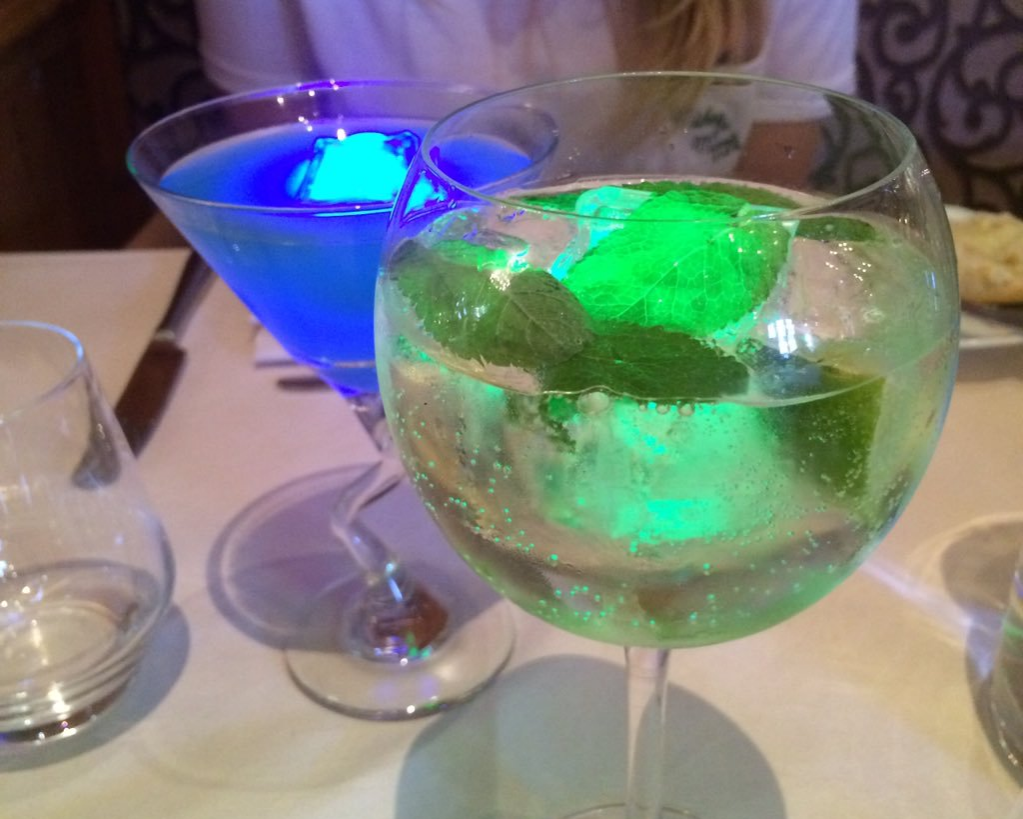 glowing ice in cocktails