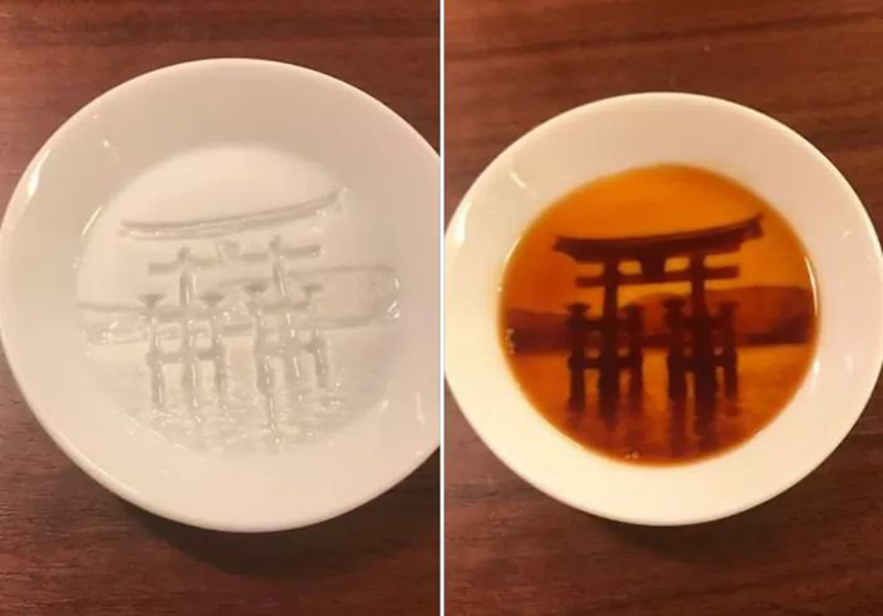 soy sauce dish that turns the condiment into a Shinto shrine