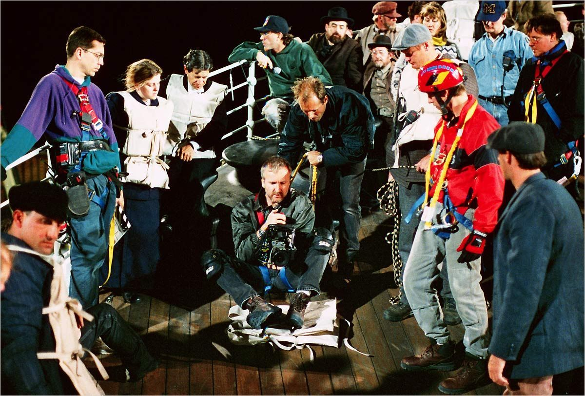 James Cameron directing his actors in the sinking ship scene