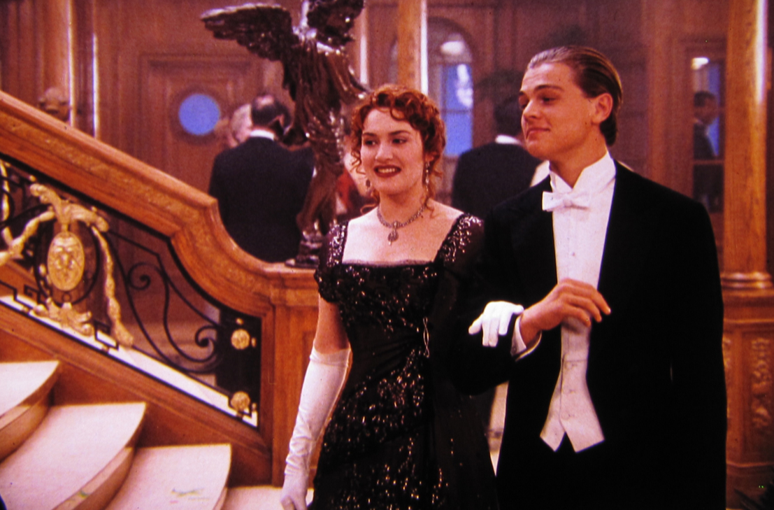 Scene from Titanic: Jack and Rose walking by the grand staircase