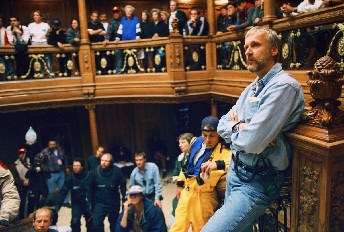 Director James Cameron and crew filming on the grand staircase