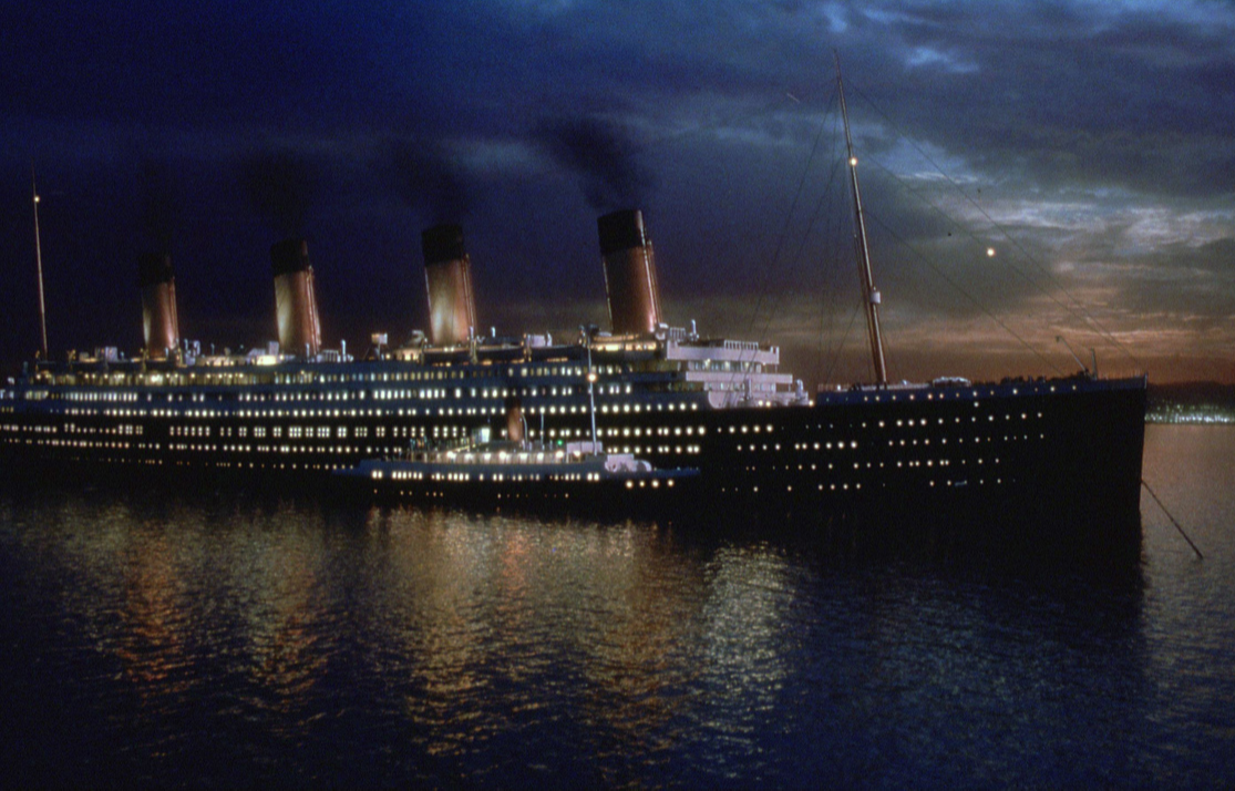 The night sky and Titanic boat. Publicity still by Paramount Pictures for the move Titanic