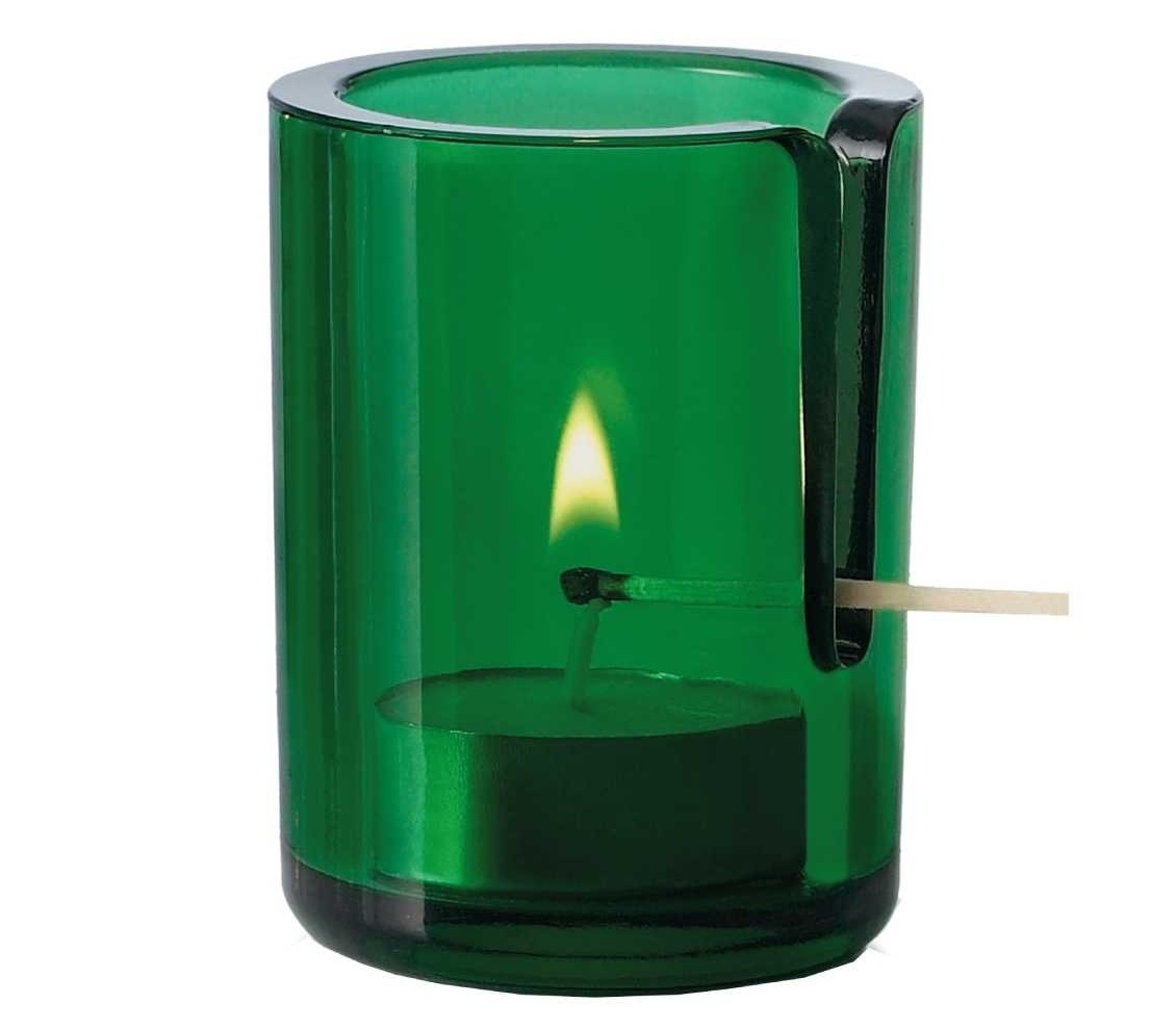 vented match candle holder, green