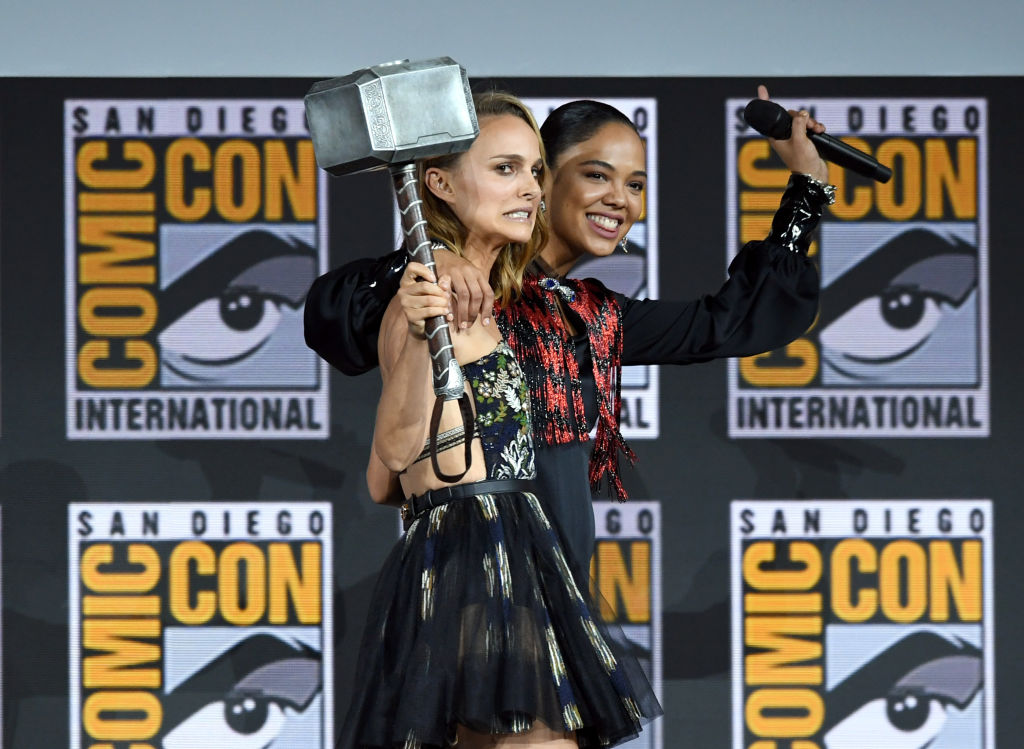 Natalie Portman and Tessa Thompson speak at the Marvel Studios Panel during 2019 Comic-Con International at San Diego Convention Center -1163257966