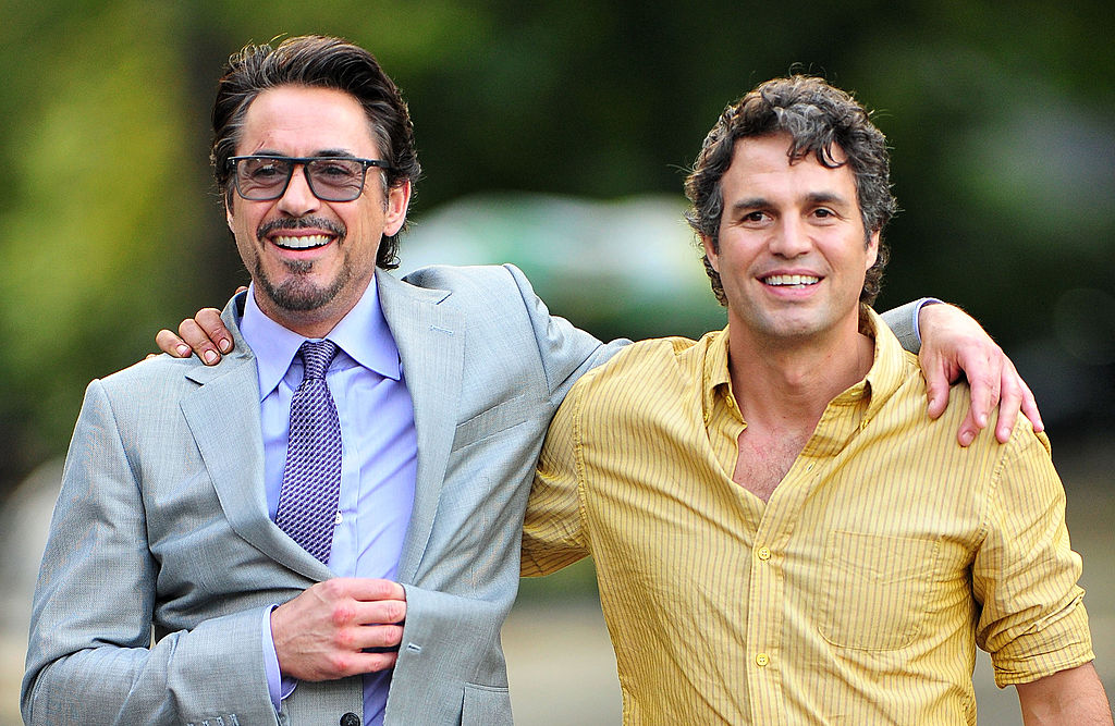 GettyImages-123423919 Robert Downey Jr. and Mark Ruffalo filming on location for