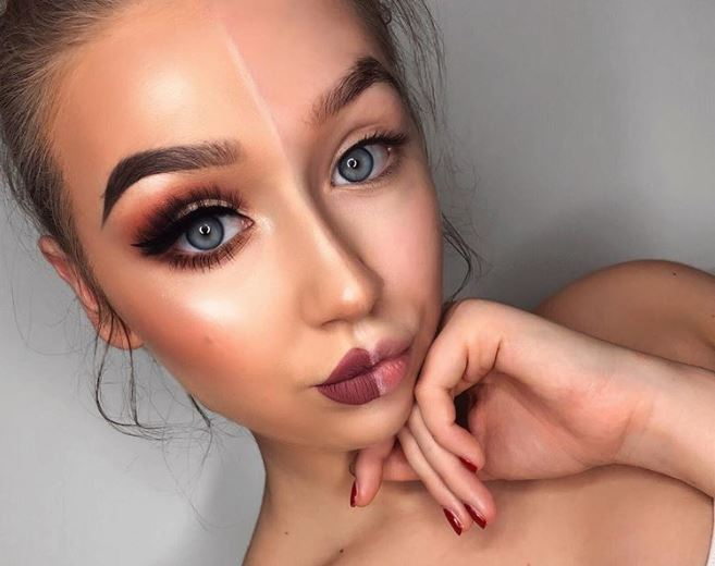 Joanna Hejnat with a half face of makeup on Instagram