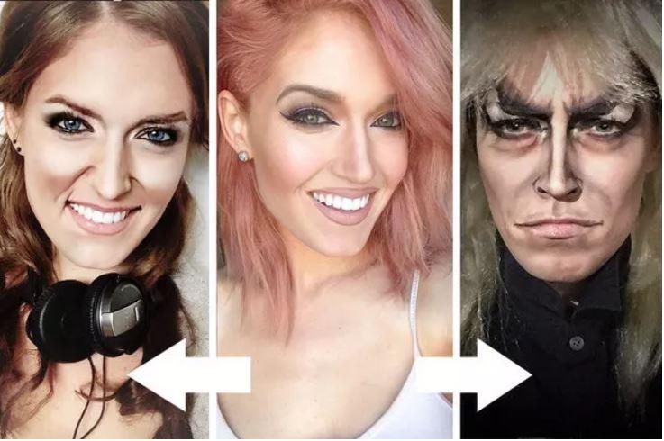 Rebecca Swift using make-up to make herself look like fictional characters