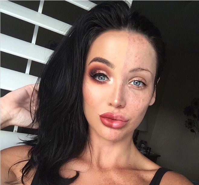 Stephanie Absher applied make-up on half of her face