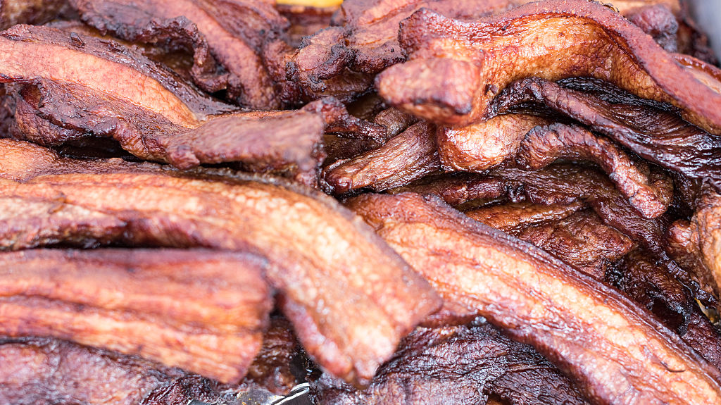 close-up of cooked bacon
