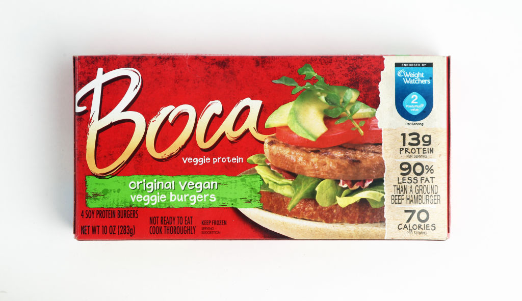 a package of boca original vegan veggie burgers