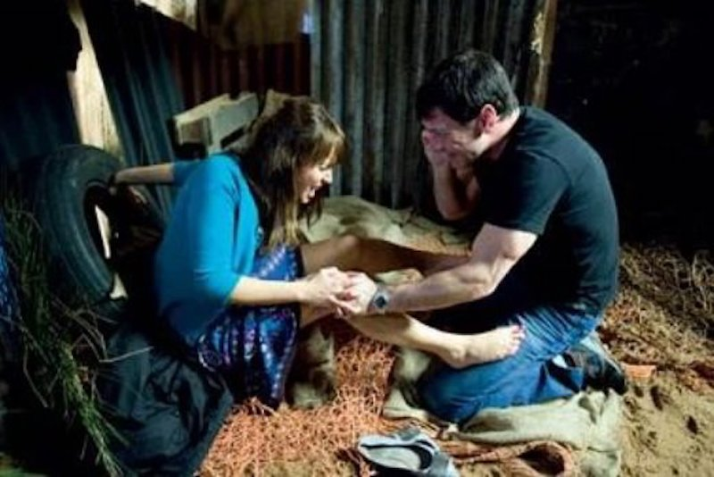 coronation street character giving birth in a barn scene