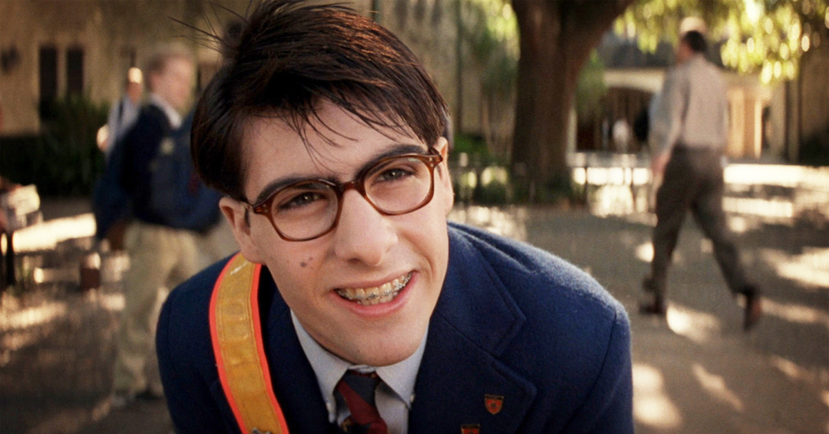 jason schwartzman with glasses and braces in a school uniform in rushmore