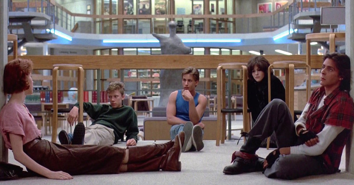 molly ringwald, anthony michael hall, emilio estevez, ally sheedy, and judd nelson in the library in the breakfast club