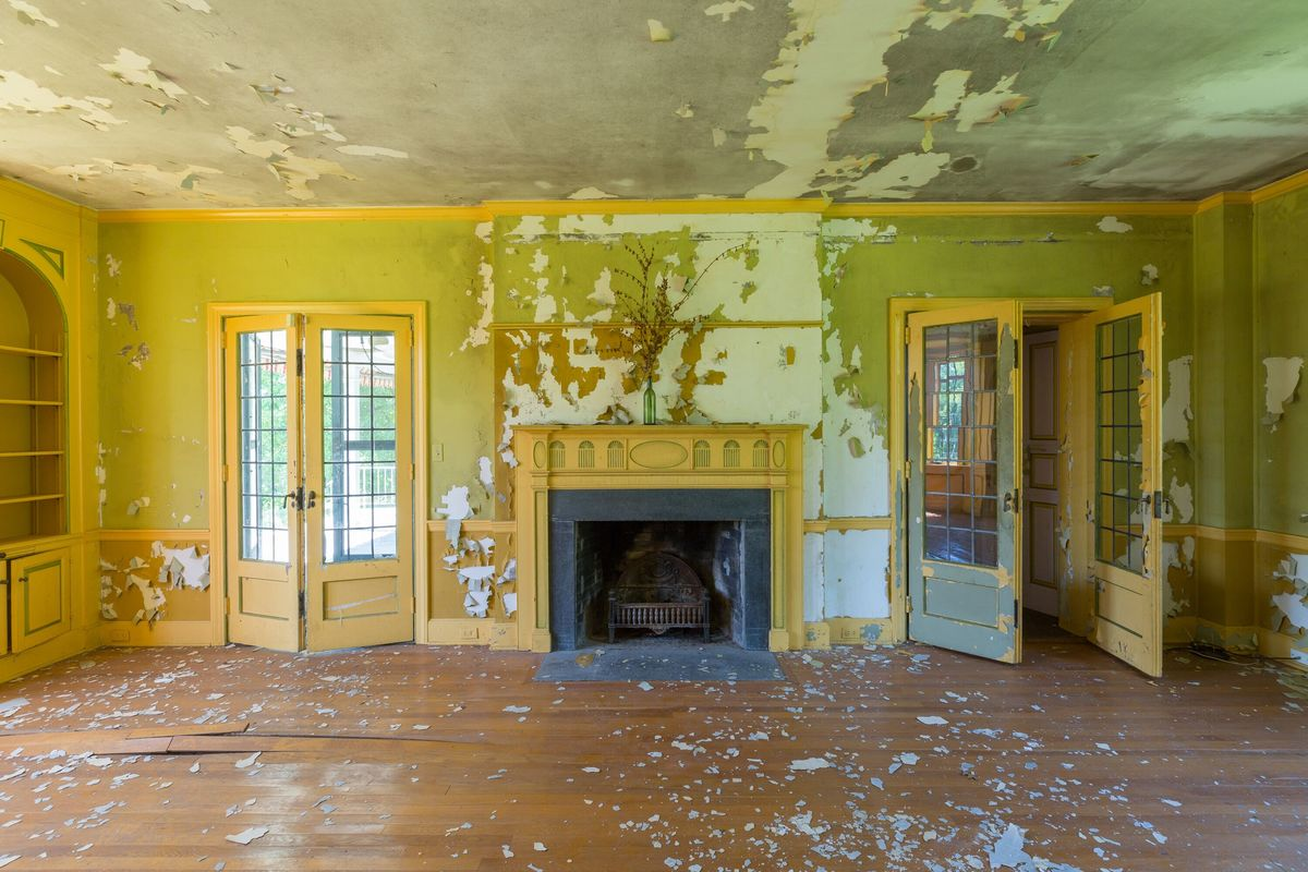 yellow fireplace room circus house abandoned house story