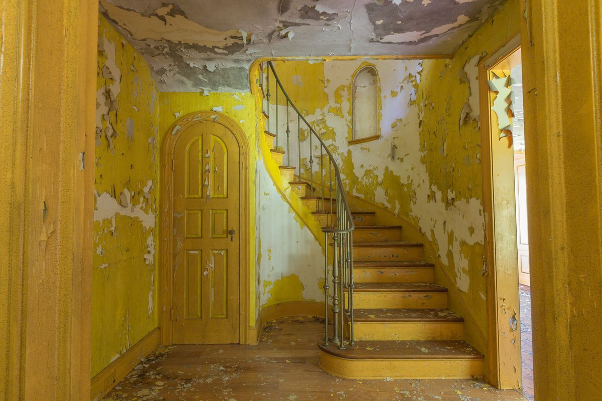 yellow staircase circus house abandoned house story