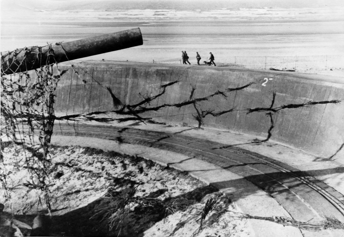The Nazi propaganda image shows German Wehrmacht soldiers on the Atlantic Wall