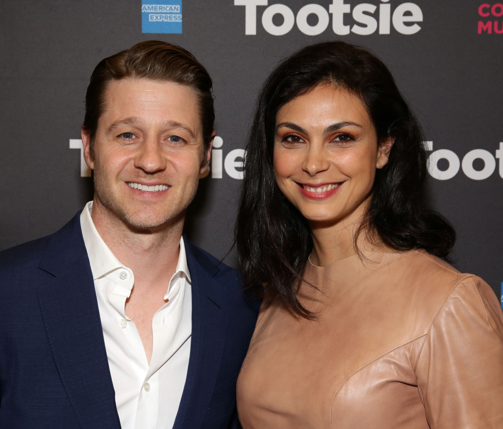 Ben Mckenzie and Morena Baccarin smile at the Broadway opening of